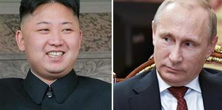 North Korea's leader Kim Jong-un (L) and Russian President Vladimir Putin
