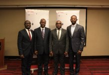 From left to Right ,Fiifi Nyarko Mensah - Country Manager Ghana, Paul Oluwole Babalogbon - Director, Project, Oluseyi Ajabule - Director, Techinical Services and Isaac Ayanda - Country Manager, Nigeria