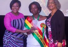"""Minister of Gender, Children and Social Protection, Honorable Otiko Afisa Djaba (left) and USAID/Ghana Mission Director, Sharon L. Cromer (right) pose with Mabel-Ann Akoto-Kwudzo (center), who was awarded the first runner up—National Best Farmer for 2017 at a """"Women in Agribusiness"""" Summit hosted by the United States Agency for International Development (USAID) and MEL Consulting Limited. Photo Credit: USAID Financing Ghana Agricultural Project"""
