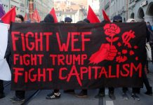World Economic Forum protest against Trump, Jan. 2018