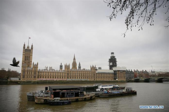 Photo taken on Jan. 7. 2019 shows the Houses of Parliament in London, Britain. MPs returned to Westminster Monday after the festive and new year break, and will resume debate on the Brexit bill on Wednesday, with the crucial vote expected in the early part of the following week. (Xinhua/Tim Ireland)