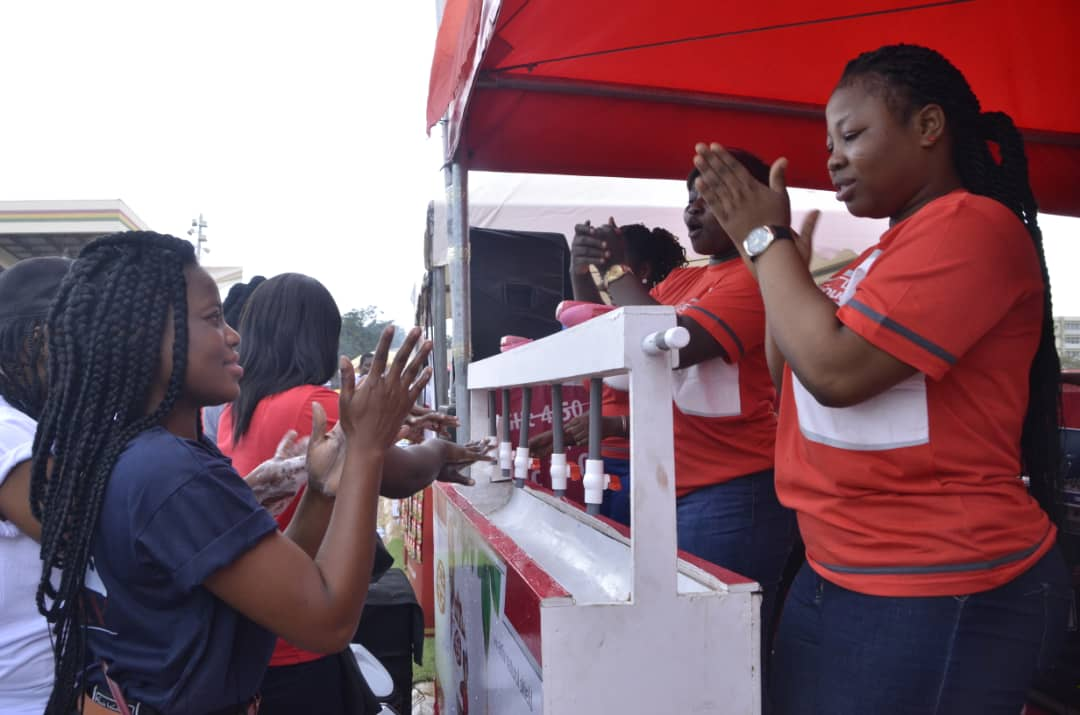 A Member Of The Lifebuoy Team Demonstrating The Proper Way To Wash The Hands