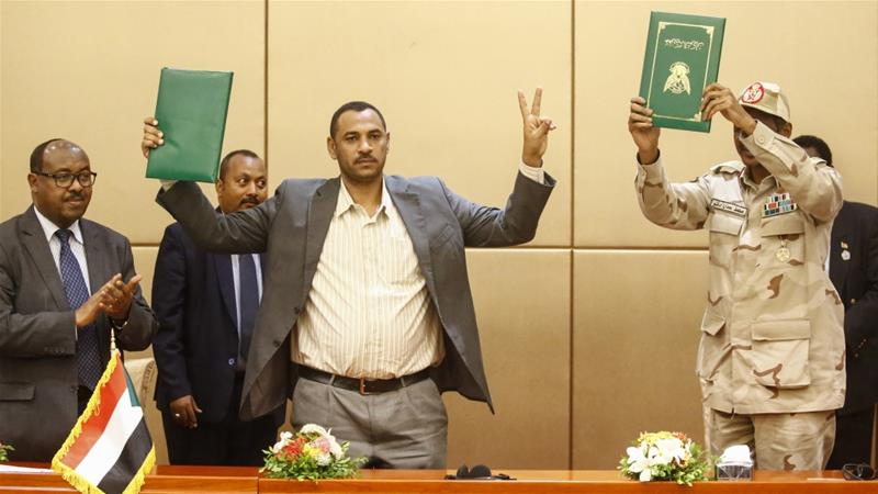 Sudan Constitutional Declaration signed by Transitional Military Council and Force for Freedom and Change Photo by Al Jazeera