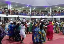 Some congregants in a dancing mood