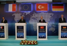 """EU Commissioner for Migration, Home Affairs and Citizenship Dimitris Avramopoulos (2nd L), Turkish Interior Minister Suleyman Soylu (2nd R), German Interior Minister Horst Seehofer (1st R), and French Ambassador to Turkey Charles Fries attend a joint press conference in Ankara, Turkey, on Oct. 3, 2019. Dimitris Avramopoulos said Thursday there is an """"urgent need"""" to stop refugees entering Greece from Turkey in an illegal way. (Photo by Mustafa Kaya/Xinhua)"""