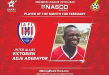 Victorien Adebayor wins NASCO Player of the Month