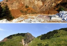 A comparison of an abandoned mine before and after restoration at the Dabaoshan Mine. Photo by Yang Jinjin, People's Daily Online