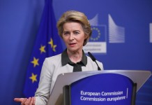 European Commission President Ursula von der Leyen delivers a press statement on the European Green Deal at the EU headquarters in Brussels, Belgium, Dec. 11, 2019. (Xinhua/Zheng Huansong)