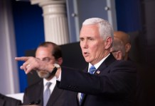 U.S. Vice President Mike Pence gestures as he attends a press conference on the COVID-19 at the White House in Washington D.C. March 10, 2020. The number of COVID-19 cases in the United States have topped 1,000 by 11:30 p.m. EST Tuesday (0330 GMT on Wednesday), reaching 1,001 with 28 deaths, according to the Center for Systems Science and Engineering (CSSE) at Johns Hopkins University. (Xinhua/Liu Jie)