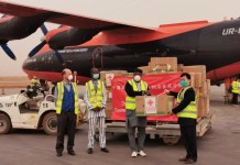 A batch of medical supplies donated by the Chinese government arrive at the Thomas Sankara International Airport, Ouagadougou, capital of Burkina Faso on April 16, shortly after the arrival of a team of Chinese medical experts. (Photo courtesy of the Chinese Embassy in Burkina Faso)