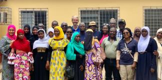 Soronko Academy And Rotary Members With A Selection Of Girls For The Project
