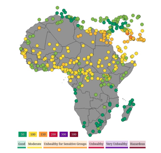 Using satellite data and the machine learning models developed by data scientists on Zindi, we can easily estimate air pollution levels even in places that do not have air quality sensors on the ground. This map of air pollution on 2 April 2020 was generated using our model. Source Jonathan Whitaker/Zindi.
