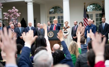 U.S. President Donald Trump (C) attends a news conference at the White House in Washington D.C., the United States, on March 13, 2020. U.S. President Donald Trump on Friday declared a national emergency to open up 50 billion U.S. dollars in federal aid to help combat the spread of COVID-19 across the country. (Xinhua/Liu Jie)
