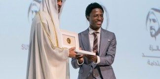 Hh Sheikh Mohamed Bin Zayed With The Winner From The Okuafo Foundation