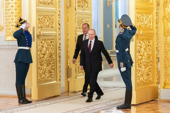 Russian President Vladimir Putin (C) arrives for the ceremony of presenting credentials at the Kremlin in Moscow, Russia, Feb. 5, 2020. China is taking