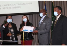 Namibian Prime Minister Saara Kuugongelwa-Amadhila (1st L) launches the Public Sector Innovation Policy in Windhoek, Namibia, on July 22, 2020. The Namibian government on Wednesday launched its first Public Sector Innovation Policy to improve public service delivery. (Photo by Ndalimpinga Iita/Xinhua)