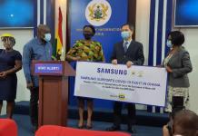 L R Hon Kojo Oppong Nkrumah Nana Amegashie Mtn Emmanuel Nahm Samsung Md And Mamle Andrews Chief Director Min Of Information