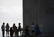 People Visit The Lincoln Memorial In Washington D C The United States June
