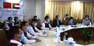 """KHARTOUM, June 7, 2020 (Xinhua) -- Members of the Chinese medical expert team attend a video conference on prevention of the coronavirus with China's embassies in South Sudan, Mauritania and Morocco held in Khartoum, Sudan, on June 5, 2020. TO GO WITH """"Chinese medical expert team in Sudan shares experience in COVID-19 prevention with Chinese doctors"""" (Xinhua/Ma Yichong)"""