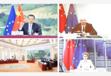 BEIJING, June 22, 2020 (Xinhua) -- Combo photo shows Chinese Premier Li Keqiang holding the 22nd China-European Union (EU) leaders' meeting with President of the European Council Charles Michel and President of the European Commission Ursula von der Leyen via video link in Beijing, capital of China, June 22, 2020. (Xinhua/Pang Xinglei)
