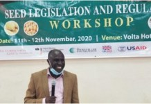 Mr. Forster Boateng AGRA Regional Head, West Africa addresses participants at the Seed Legislation Workshop
