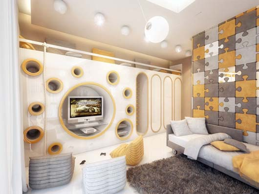 Children room decoration by Geometrix Design 2 Children room decoration with amazing wall paneling
