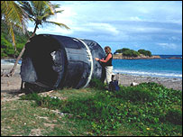 Rocket casing on a beach, Thompson/Science