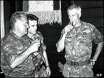 Ratko Mladic (left) drinks with Dutch Col Ton Karremans