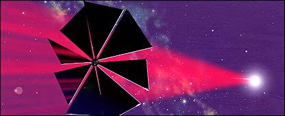 Representarción artística del velero solar Cosmos-1 Michael Carroll, Sociedad Planetaria