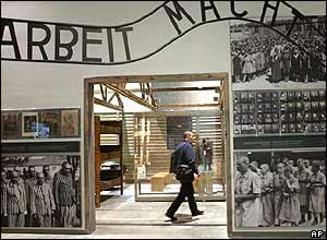 A man walks through a hall inside the Yad Vashem Holocaust Memorial