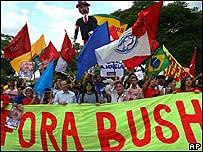 Anti Bush demonstrators in Brazil