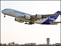 Airbus A380 taking off on its maiden flight from Toulouse, southern France