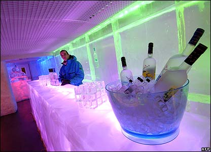Barman at the ice bar, Paris