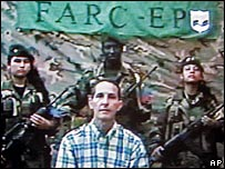 Video grab from a tape showing Fernando Araujo supposedly recorded and released by the Farc