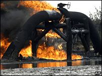 Fire at ruptured pipeline.  Image: AP