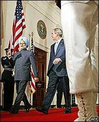 Manmohan Singh with George W Bush