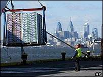 Freight being unloaded at the Port of Philadelphia