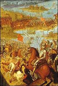 Cuadro que muestra la entrada a Tenochtitlán.