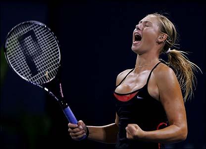 Dinara Safina yells in victory