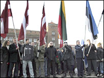 Nationalists demonstrate in the Latvian capital, Riga