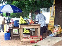 Fruit seller's stall in Accra