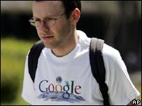 Google worker wearing a Google t-shirt