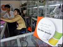 A shop in Vietnam encourages users to buy genuine products