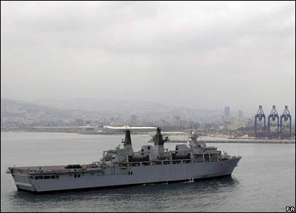 HMS Bulwark coming into port at Beirut