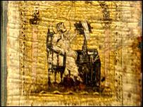Las pinturas y las palabras en el pergamino esconden bajo ellas otras palabras.