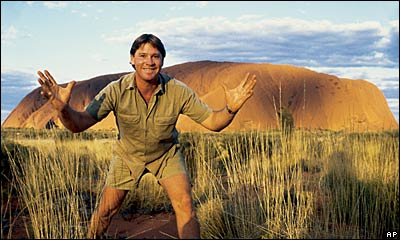 Steve Irwin in front of Uluru, once known as Ayers Rock