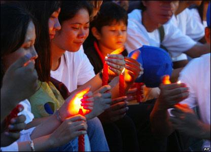 A candle-lit vigil in Phnom Penh, Cambodia