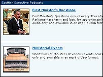 Scottish Executive podcast page