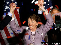Nancy Pelosi addresses the Democratic Congressional Campaign Committee election night party in Washington