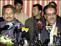 Rebel leader Prachanda (right) and his deputy Baburam Bhattarai